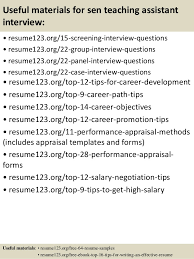 Sample Resume For Teacher Assistant by Top 8 Sen Teaching Assistant Resume Samples
