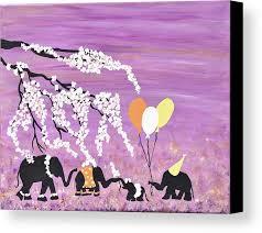 Purple Nursery Decor Elephants Painting Safari Nursery Purple Nursery Decor Canvas