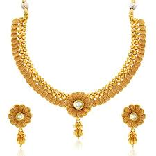 gold plate necklace images Eye catchy jalebi design gold plated necklace set for women jpg