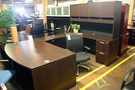 Used Computer Desk With Hutch Compel Espresso Bowfront U Shape Desk With Hutch Office Furniture