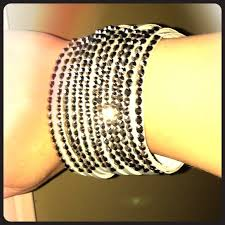 leather rhinestone bracelet images Yik fung jewelry wide grey leather rhinestone bracelet new jpg