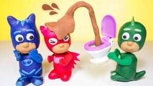 pj masks play doh toilet training prank episode compilation