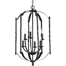 Rustic Candle Chandeliers Shop Progress Lighting Greyson 18 25 In 6 Light Black Rustic