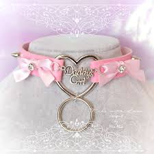 leather bow necklace images Bdsm daddys girl choker necklace pink faux leather heart pink bow jpg