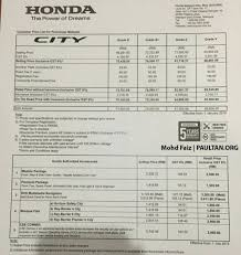 honda malaysia car price honda city pricing increased from january 1 2016