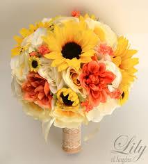 Sunflower Bouquets 17piece Package Silk Flower Wedding Bridal Bouquet Sunflower