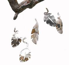 handmade silverware wind chime leaf wall art gold metal wall zoom