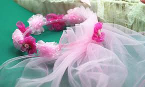 tulle flowers pink tulle floral cornet with two layer 70cm veils kids tulle