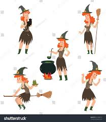 free halloween red hair witch images on white background vector set cartoon images funny witches stock vector 521989279