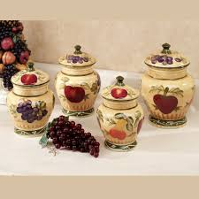kitchen canisters european fruit kitchen canister set