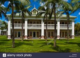 colonial style house at sugar beach resort spa accommodation stock