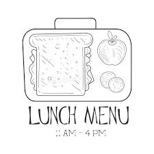 lunchbox cafe lunch menu promo sign in sketch style design