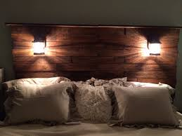 Headboards With Built In Lights Pallet Headboard With Shelf Lights And Plugs For Cell Phones