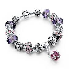 murano glass beads bracelet silver images Purple crystal pandora charm beads bracelet ken bracelets shop jpg