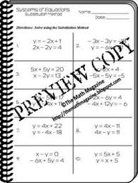 systems of equations substitution method worksheet a ced 3 a rei