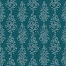 blue green vintage paisley damask wallpaper royalty free stock