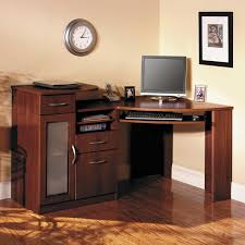 Corner Computer Desk With Drawers Brown Wooden Corner Computer Desk With Sliding Keyboard Rack Added