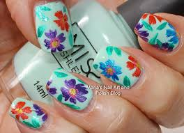 marias nail art and polish blog multi color floral nail art on mint