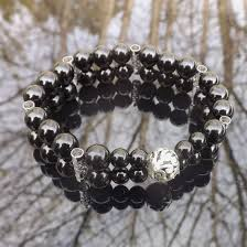 double beaded bracelet images Black onyx elastic beaded bracelet double artcrystal jpg