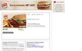 free e gift cards free 5 00 burger king e gift printable gift code card gift