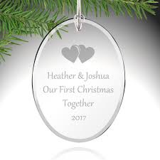 couples first christmas glass ornament