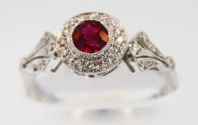 rings with ruby images Vintage style platinum ct oval ru and diamond engagement ring jpg