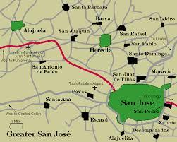 san jose costa rica on map town san jose map