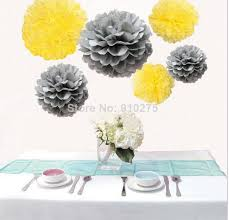 mixed sizes silver and yellow tissue paper pom pom pompoms wedding