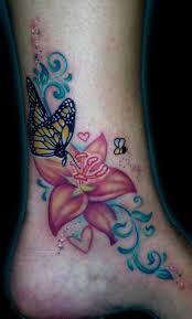 butterfly on flower design on ankle tattooshunt com