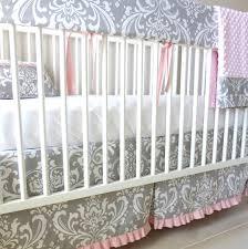 Damask Crib Bedding Sets Gray Pink Damask Crib Rail Bedding Set Nursery Bedding