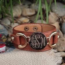 monogrammed cuff bracelet monogram bracelet personalized leather cuff marleylilly