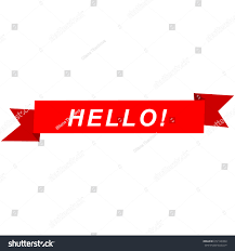 hello ribbon greeting card ribbon word hello stock vector 672126364