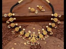black gold necklace jewelry images Latest thread gold jewellery jpg