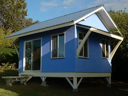 modern blue small kit homes that seems nice design with grey roof