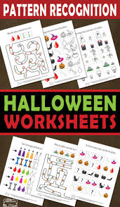 halloween pattern recognition worksheets itsy bitsy fun