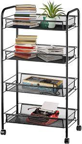 kitchen storage cupboard on wheels halter 4 tier metal storage shelves with wheels roller cart wire storage baskets office rolling cart organizer black