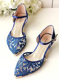 2013 summer new pointy toe royal blue lace upper low heel 3 cm