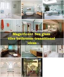 sea glass tiles bathroom craftsman with glass shower door beige wall
