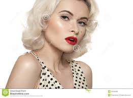 retro 50s old fashioned pin up model red lips make up