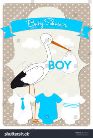 baby shower card stork carrying baby stock vector 381375415