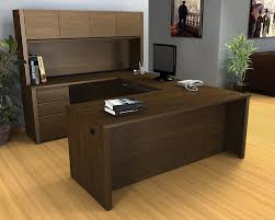 office table design l shape brown wooden computer desk black mesh