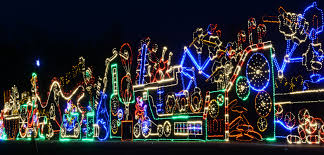 in round lake the night is ablaze with christmas color the