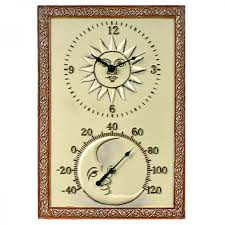 Patio Clock And Thermometer Sets by Clockway Blackburn Sun U0026 Moon Wall Clock And Thermometer Indoor