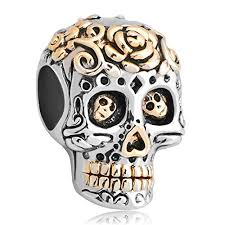 skull bracelet charms images Skull flower charm dia de los muertos jewelry sale cheap beads fit jpg