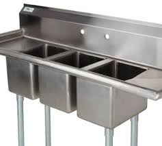 Space Saving Kitchen Sinks by 3 Compartment Sink With 2 Drainboards Regency 16 Gauge Three
