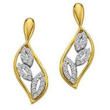 beautiful gold earrings bling beautiful fancy leaf shape earrings made with real gold