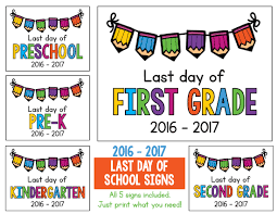 last day of signs freebie includes preschool pre k