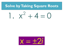 7 solving with square roots 1 get x 2 or binomial squared by itself 2 take the square root of both sides of the equals sign 3 don t forget the sign 4