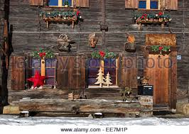 windows of a swiss alpine wooden house switzerland bernese