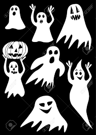 the collection of ghosts on a black background royalty free